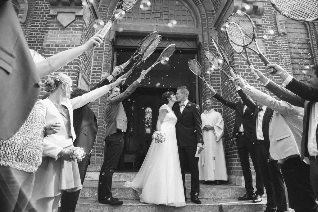 sortie mariés église tennis