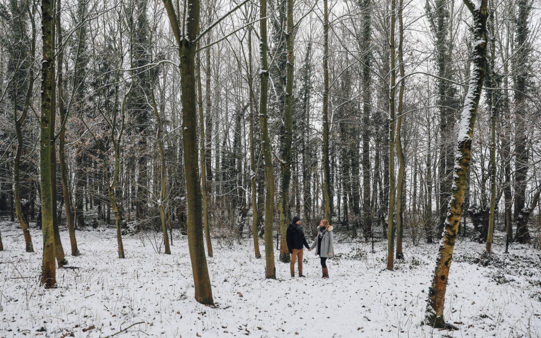 Une séance couple sous la neige